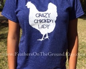Navy Size Large Crazy Chicken Lady Womens Fit  Shirt DISCONTINUED COLOR