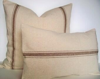 Brown Farmhouse Pillow Tan Grain Sack Look Pillow Cover Tan Stripe Grain Sack Pillow