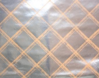 Retro Wallpaper by the Yard 70s Vintage Mylar Wallpaper - 1970s Silver Mylar with Tan Lattice Pattern