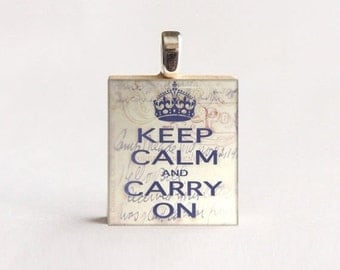 JULY SALE Scrabble® Necklace Pendant  (Keep Calm Carry On) made from reclaimed Scrabble® tile letter. Scrabble® tile pendant. Gift Present f
