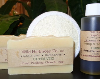 Facial Care Kit, All Natural with Hemp & Tea Tree + Historical Acne Fighting Ingredients - Includes Facial Buff Pad!