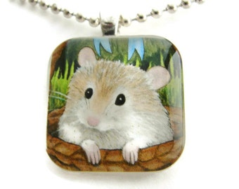 Hamster Glass Tile Pendant with Free Necklace