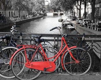 Amsterdam red bike black and white fine art photography water canal travel