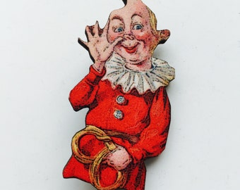 Kitsch Musical Circus Clown Jester in Red Costume Wooden Brooch Pin Birthday Gift Stocking Filler Gifts Themes Party Present