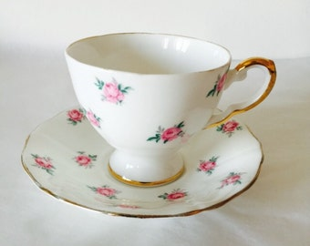 Pink Rose Flower Teacup and Saucer Vintage English Bone China Afternoon Tea Party Made in England Bridal Shower Wedding Anniversary Gift