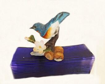 Vintage Blue Bird Figurine, Eastern Bluebird, Franklin Mint, Birds and Blossoms, Bird Decor, Bluebird Figurine, Franklin Mint Collectible