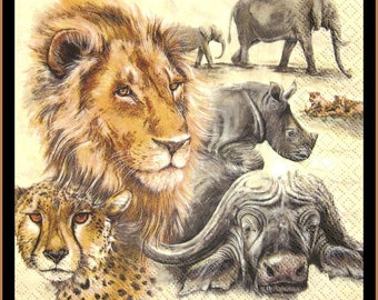 African Animals, Paper Decoupage Napkins - Use For Crafts, Mixed Media, Scrapbooking, Collage And Altered Art Projects