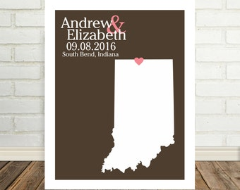 Engagement Gift Personalized Indiana Map Indiana Poster Indiana Print Indiana Wedding Present Christmas Gift Valentines Day Gift