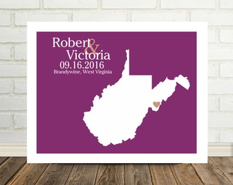 West Virginia Map Newlywed Gift West Virginia Poster West Virginia Print Newly Engaged Gift for Him Valentine Gift for Him State Artwork