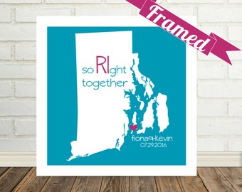 RHODE ISLAND Map Print Engagement Gift Personalized Framed Art State of Love Unique Engagement Gift for Couple Valentines Day Gift
