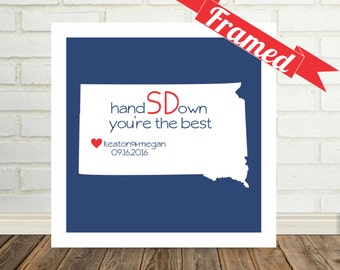 SOUTH DAKOTA State Map Frame Personalized Anniversary Gift, Personalized Gift for Couple, Wedding Gift, Engagement Gift, Gift for Him