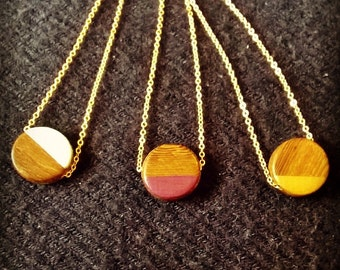 Wood Bead Geo Necklace