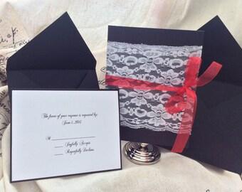 Elegant Lace wedding invitation suite (Set of 50)
