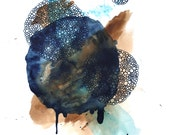 COME BACK  abstract watercolor art print in earthy brown and indigo blue