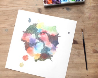 OOPS! faded WHENEVER watercolor art print in multicolor