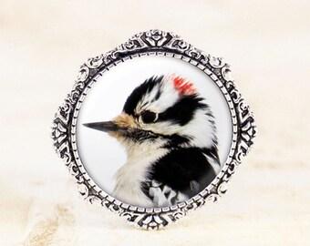 Downy Woodpecker Brooch - Silver Bird Pin, Woodpecker Jewelry, Woodpecker Pin, Silver Bird Jewelry Brooch, Nature Brooch Pin, Bird Brooch