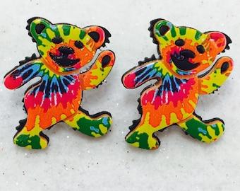 Jerry Bear Earrings, Grateful Dead Earrings, Dancing Bear Earrings, Tie Dye Jerry Bear Earrings, Deadhead Earrings