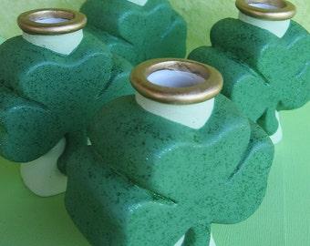 Shamrock - Candle Holders - Irish - St. Patrick's Day - Green - Gold - Spring - Ireland - Ceramic