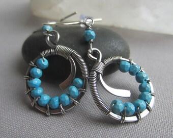 Turquoise Earrings/ Silver Wire Earrings with Turquoise/ Turquoise hoops/ Turquoise dangles/ Tarnished Silver Earrings/ Artisan earring