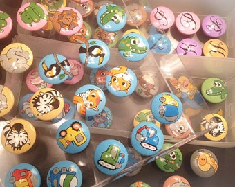 Customized Drawer Pulls / Dresser Knobs / Closet Handles / Hand Painted for Boys, Girls, Kids, Nursery Rooms (Assorted Color Background)