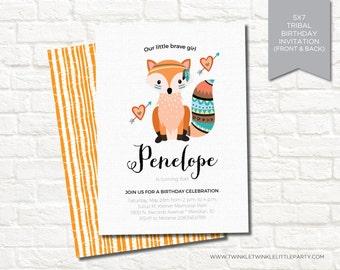 Girly Fox Tribal Birthday Party Digital Invitation