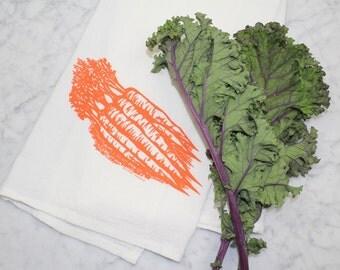 Carrot Flour Sack Tea Towel - Hand Screen Printed - Eco Friendly Gift