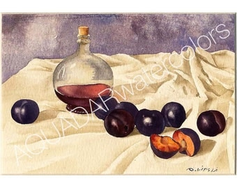 """Watercolor READY TO SHIP Original Watercolor Painting Still Life Blue Plums Modern Wall Art Home Decor Kitchen Decor Gift Framed 10"""" x 12"""""""