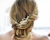 Huge gold pearls vine hair piece, Wedding Pearl Hair Piece, Gold Vine hair piece, Bridal Hair Comb, Large Pearl Comb, Bridal Hair Accessory