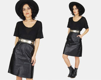 ON SALE // WILSONS Black Leather Mini Skirt Vtg 80's Long High Waist Slit Minimalist A-Line Distressed Rocker Classy - Small/Medium 10