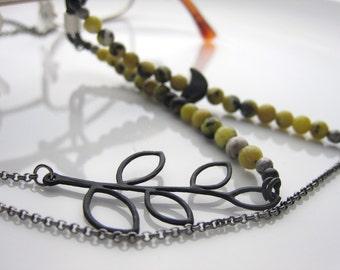 Eyeglass chain, Mom gift, eyeglass holder Gunmetal eyeglass chain with black bird, black leaf