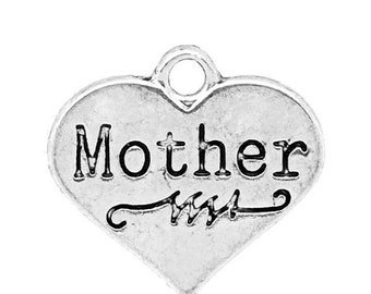 6 MOTHER Heart Charm Pendants, silver tone metal, stamped word, double sided,  chs2136a