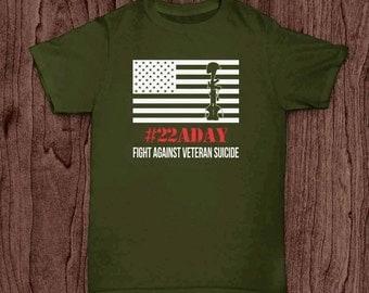 Veteran T Shirt, 22 a day, Veteran Suicide Awareness T Shirt