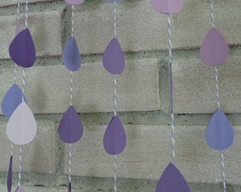 Mixed Purple Raindrop Paper Garland - Baby Shower - Baby Sprinkle - Rain Garland - Bakers Twine - April Showers - Sip and See (24 Ft)