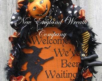 Halloween Wreath, Fall Wreath, Whimsical Fall Wreath, Trick or Treat Decor, Pumpkin Wreath, Halloween Party Decor