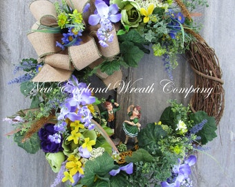 St Patrick's Day Wreath, Irish Wreath, Spring Wreath, Spring Floral, Designer Wreath, Country Cottage Wreath, Whimsical St Pat's Wreath