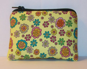 """Pipe Pouch, Padded Pouch, Pipe Case, Pipe Bag, Flowers Pouch, Padded Pipe Bag, Yellow Padded Pouch, Hippie Gift, Mini Coin Purse - 4"""" MINI"""