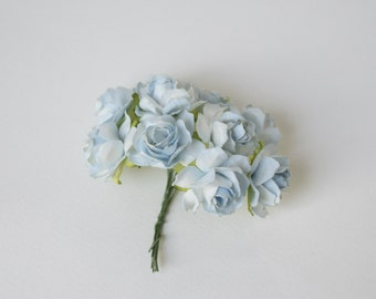 30  mm / 10  Blue  Paper  Roses  For Crafts ,Scrapbooking ,Cardmaking , Decorations