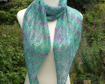 Hand knitted woman's luxury hand dyed lacy scarf. OOAK. Mauve and bright green shades . Diagonal scarf. Alpaca, silk, cashmere