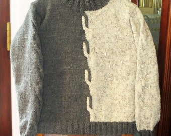 Grey White Wool Blend Original Hand Knit Sweater - Soft Warm Unisex Adult Size 34 - 36 - 38 - Unique Cross Over Interlace Design - Item 4443