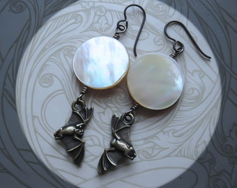 Bat and Moon Earrings. Hypoallergenic Full Moon Earrings