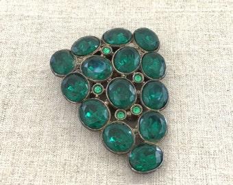 1930s Vintage Rhinestone Dress Clip - Green Rhinestone Brooch Dress Clip - Statement Rhinestone Dress Clip - Vintage Rhinestone Jewelry