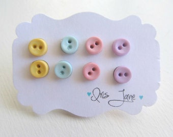 Infant Button Earrings Set of 4 Robins egg Blue, Cotton Candy Pink, Light Peachy peach, Lilac Purple