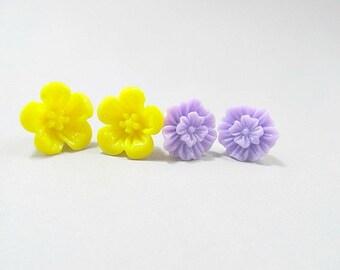 Sun Yellow Hibiscus, Lavender Purple Zinnia Stud Earrings