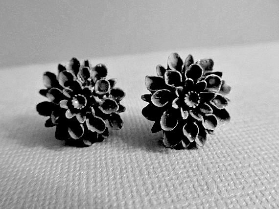 Black Dahlia Stud Earrings
