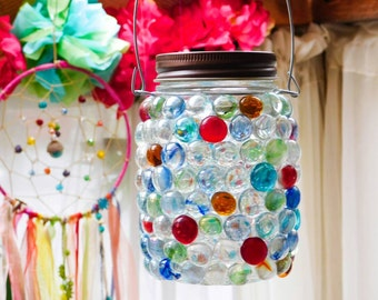SALE Bohemian Mason Jar Lantern Light Rainbow Multi Color Glass Gem Candle Holder Indoor Outdoor Lighting Home Decor Hanging Vase