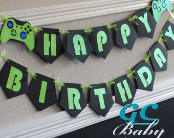 CUSTOM Video Game Birthday Banner - I Am 1, Name, Happy Birthday in ANY color combination - Party Decoration, Bunting, High Chair Garland