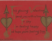 Brilliant Red Valentine's Day Vintage Postcard Gold Gild Hearts and Arrows