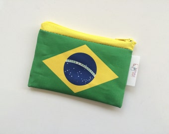 Brasil flag wallet, Brazil flag zipper pouch with the flag of Brasil - comes in Various sizes
