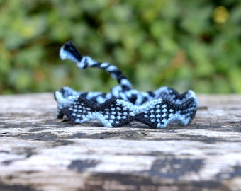 Blue and black Friendship bracelet, checkers pattern, unisex bracelet, mens bracelet (ready to ship)