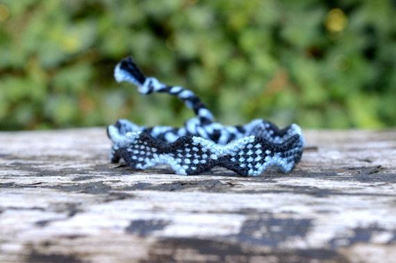Blue and black Friendship bracelet, checkers pattern, unisex bracelet, mens bracelet (ready to ship)